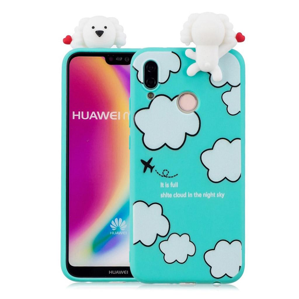 Huawei P20 Lite mobiletui i silikone og plastik med 3D print - Skyer