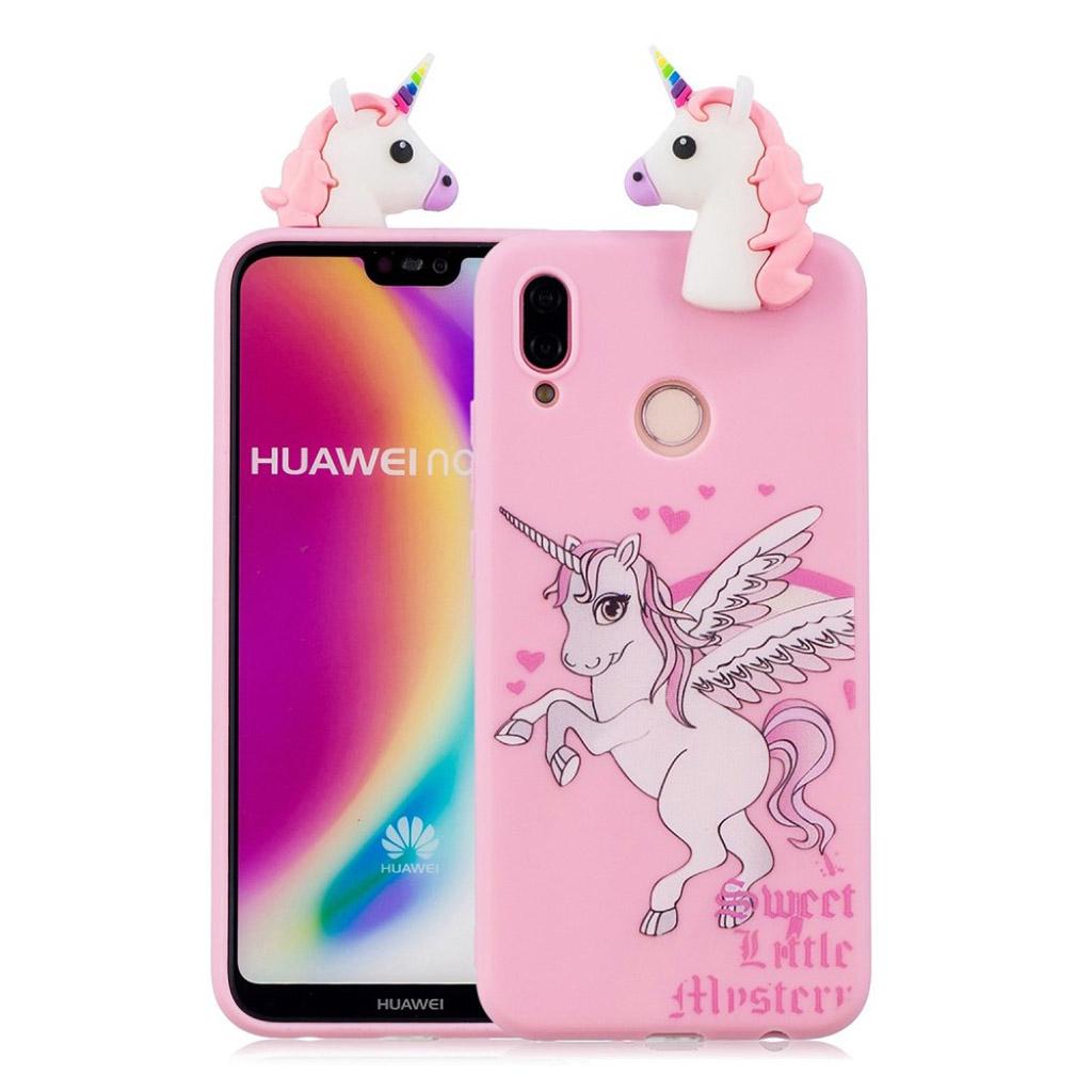 Huawei P20 Lite mobiletui i silikone og plastik med 3D print - Enhjørning