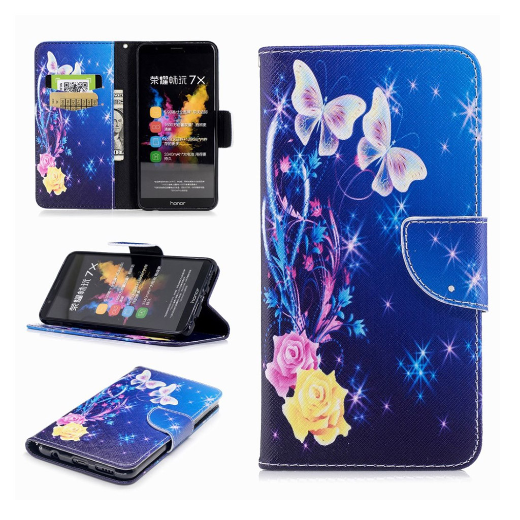 Image of   Huawei Honor 7X pattern printing leather flip case - Flora and Butterfly