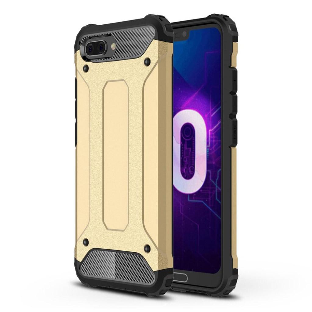 Huawei Honor 10 beskyttelsesetui i kombi-materialer med hård plastikskal - Guld
