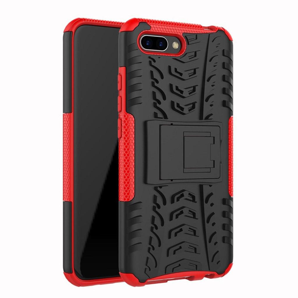 Huawei Honor 10 etui i hård plastik med blød silikone- og plastikskal og indbygget stativ - Rød