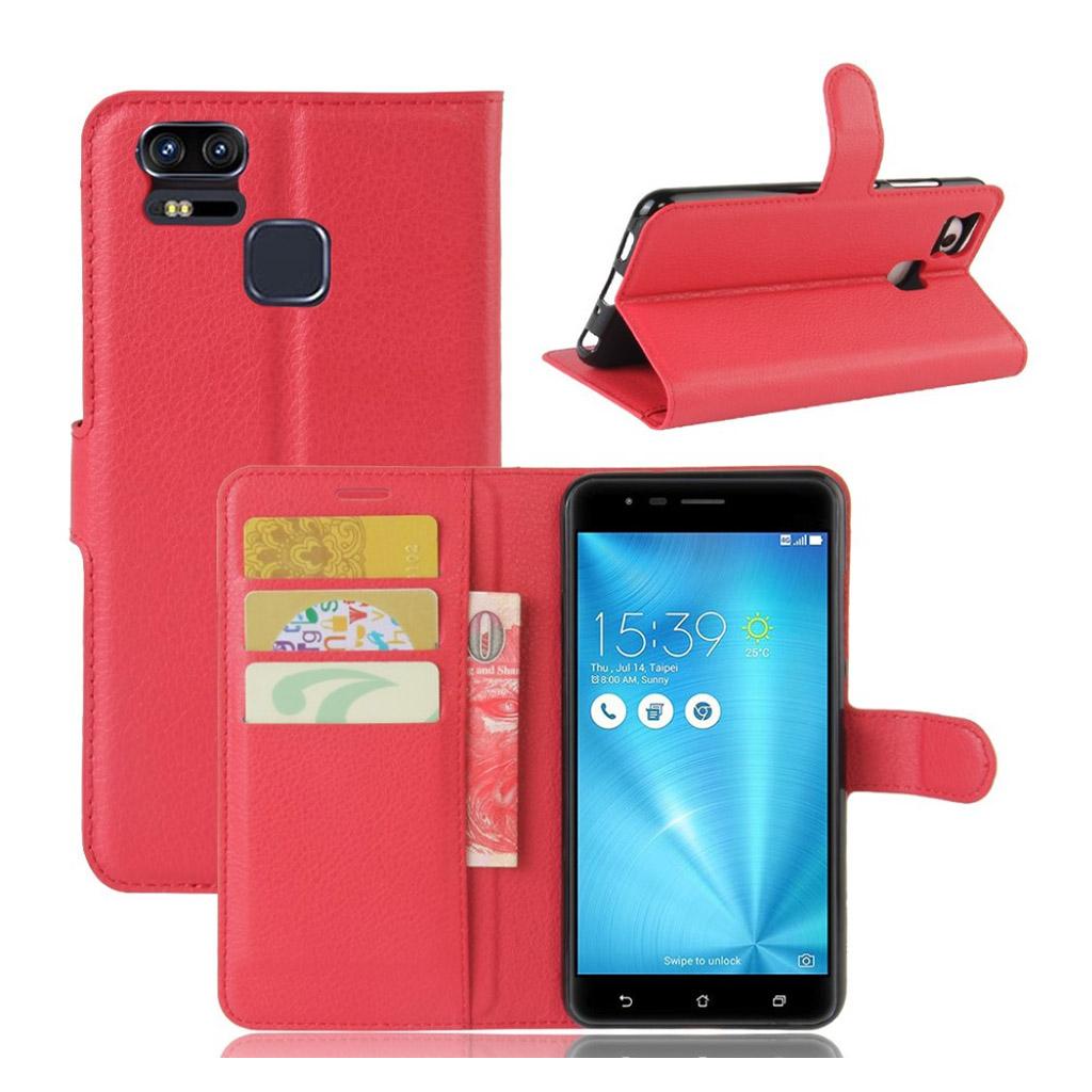 Asus Zenfone Zoom S (ZE553KL) Læder etui i Litchi skind - Rød