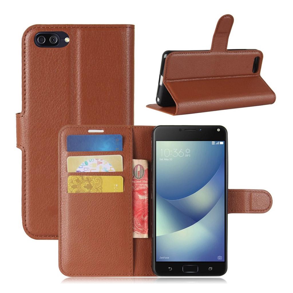 Asus Zenfone 4 Max 5.2 (ZC520KL) litchi texture PU leather flip case - Brown