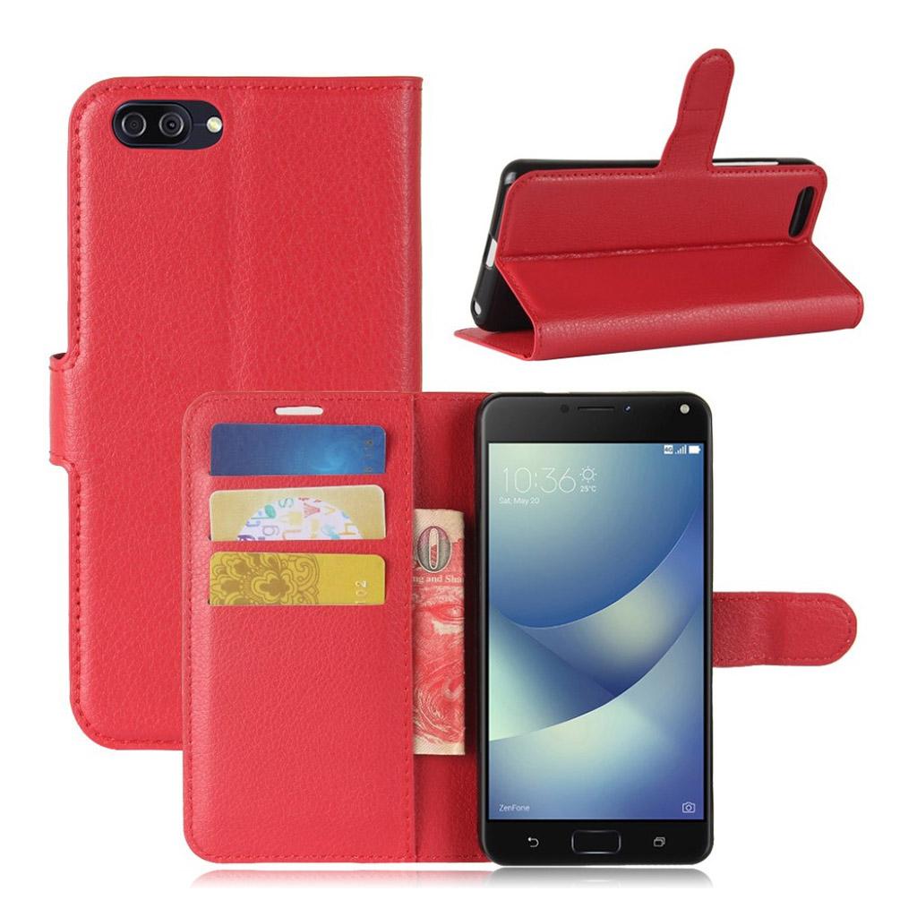 Asus Zenfone 4 Max 5.2 (ZC520KL) litchi texture PU leather flip case - Red