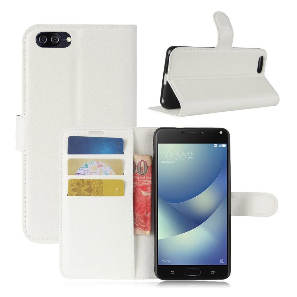 Asus Zenfone 4 Max 5.2 (ZC520KL) litchi texture PU leather flip case - White