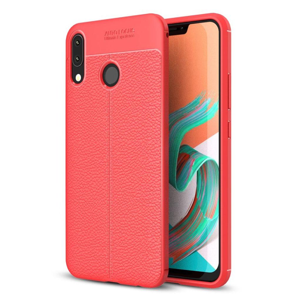 Asus Zenfone 5Z (ZS620KL) etui med litchi overflade og stilfult design - Rød