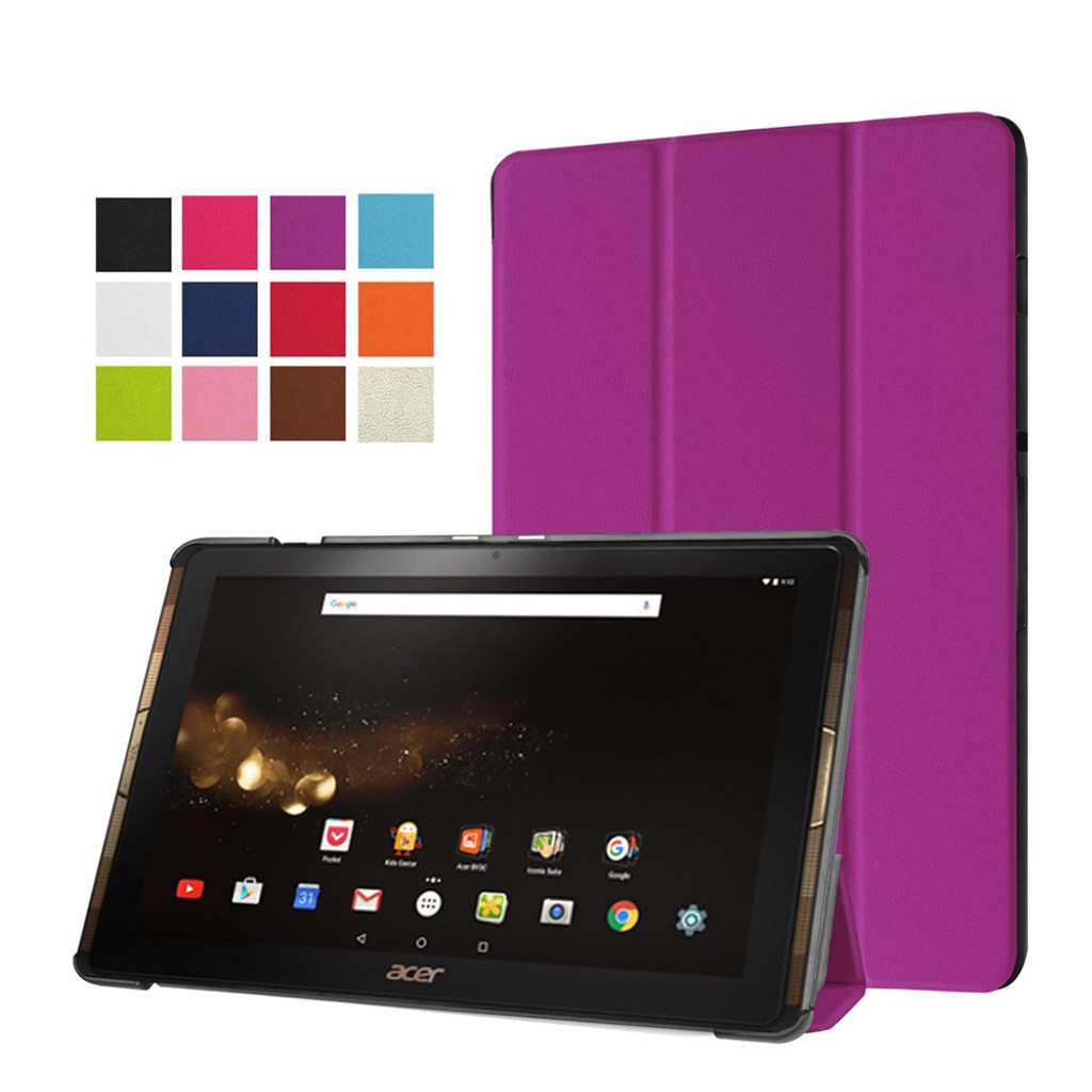 Image of   Acer Iconia Tab 10 A3-A40 Læder etui med tre-fold stand - Lilla