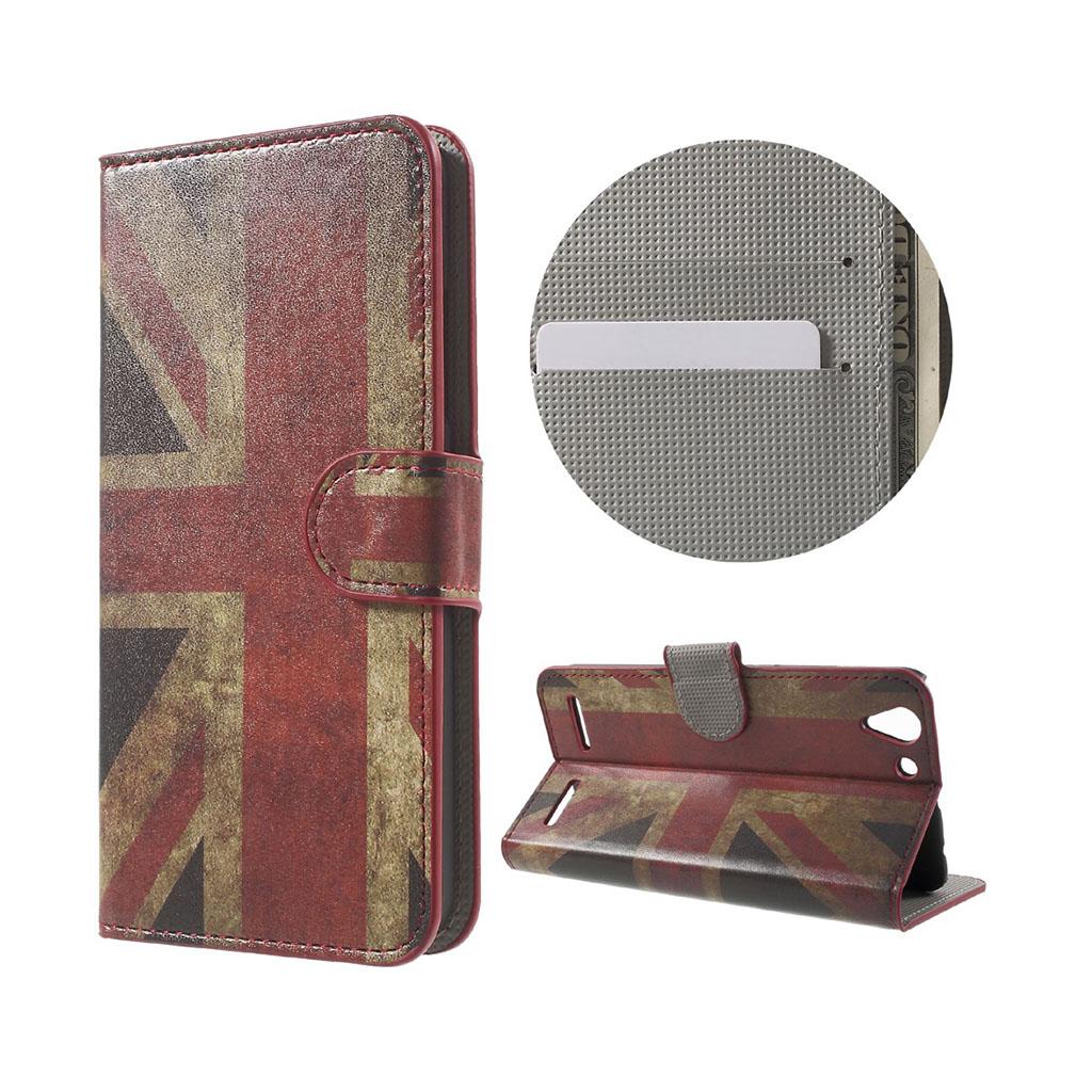 Holberg læder-etui med kortslidse til Lenovo K5 - Gammeldags britisk flag