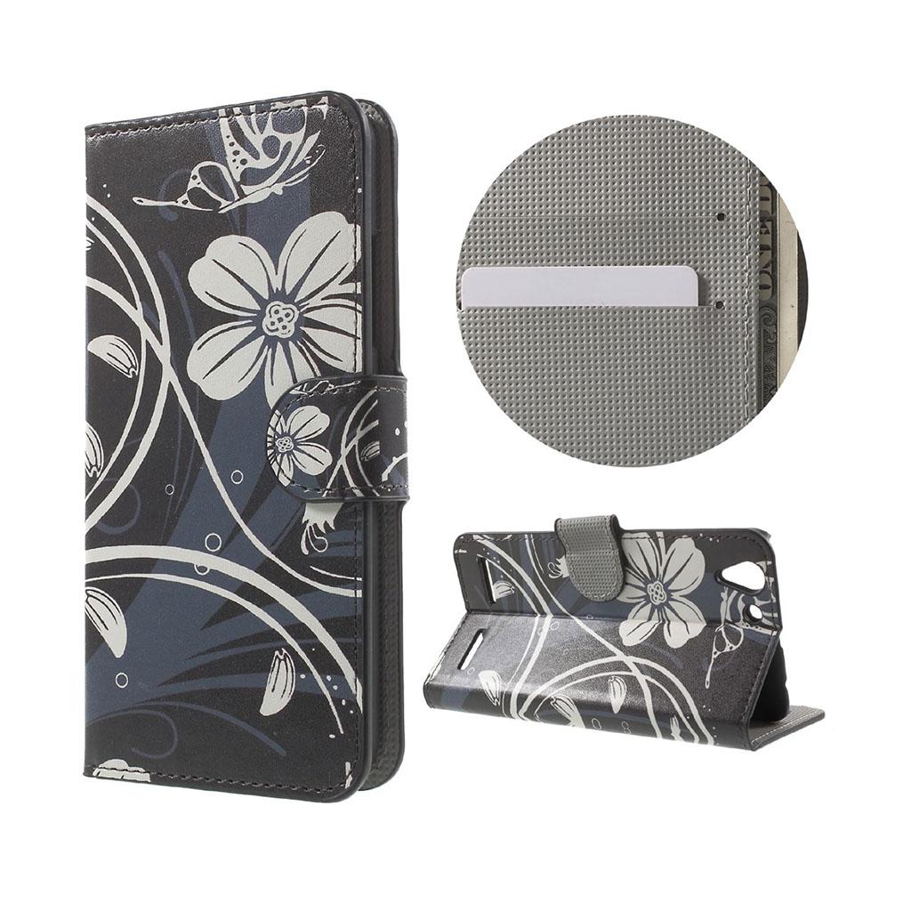 Holberg læder-etui med kortslidse til Lenovo K5 - Elegante blomster