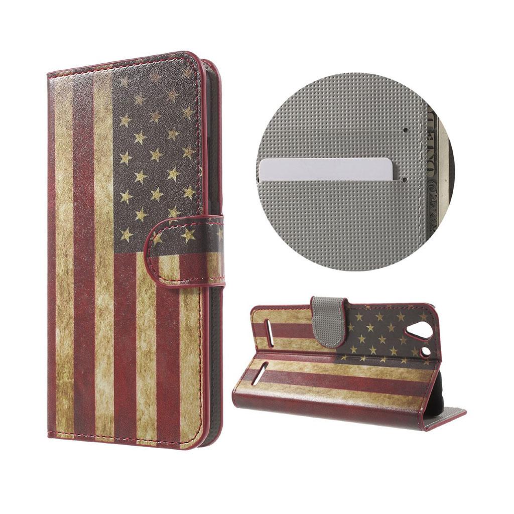 Holberg læder-etui med kortslidse til Lenovo K5 - Gammeldags amerikansk flag