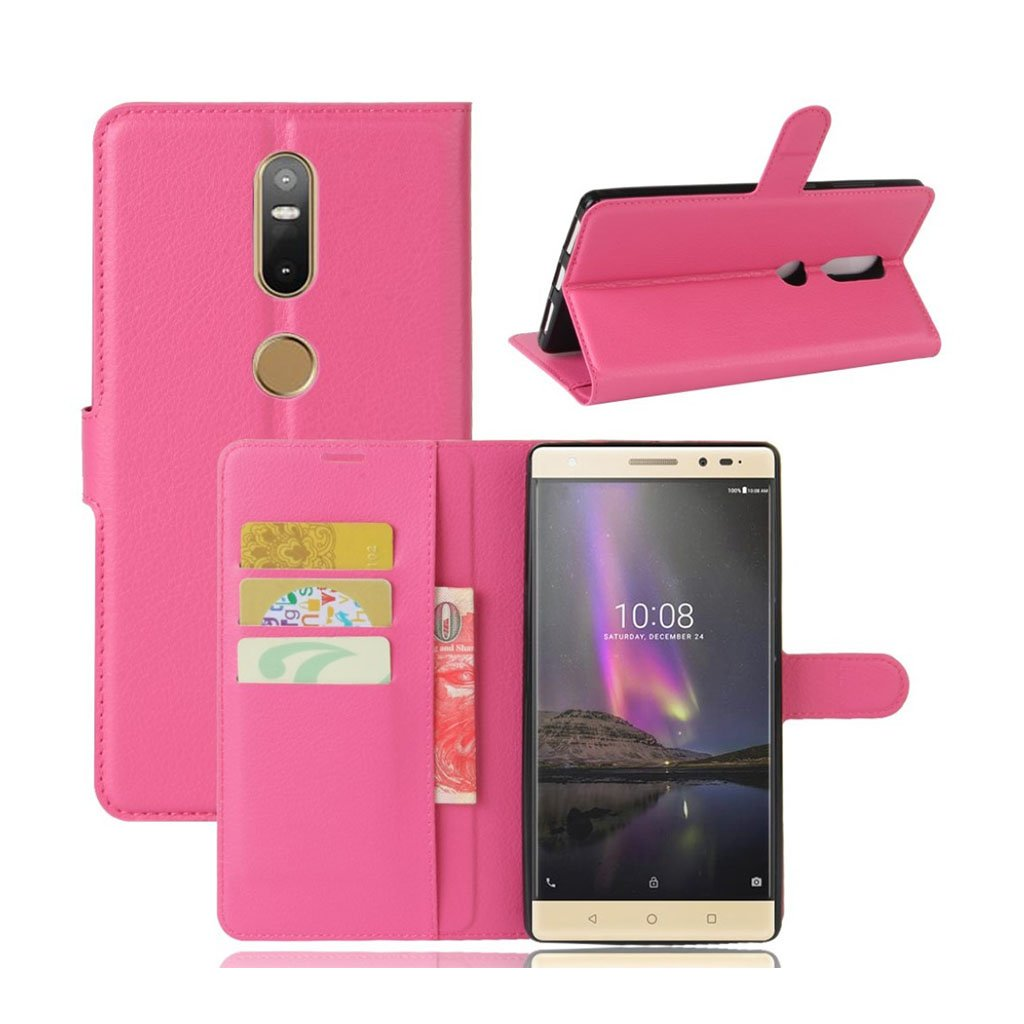 Lenovo Phab 2 Plus beskyttende og smart læder-etui - Hot pink