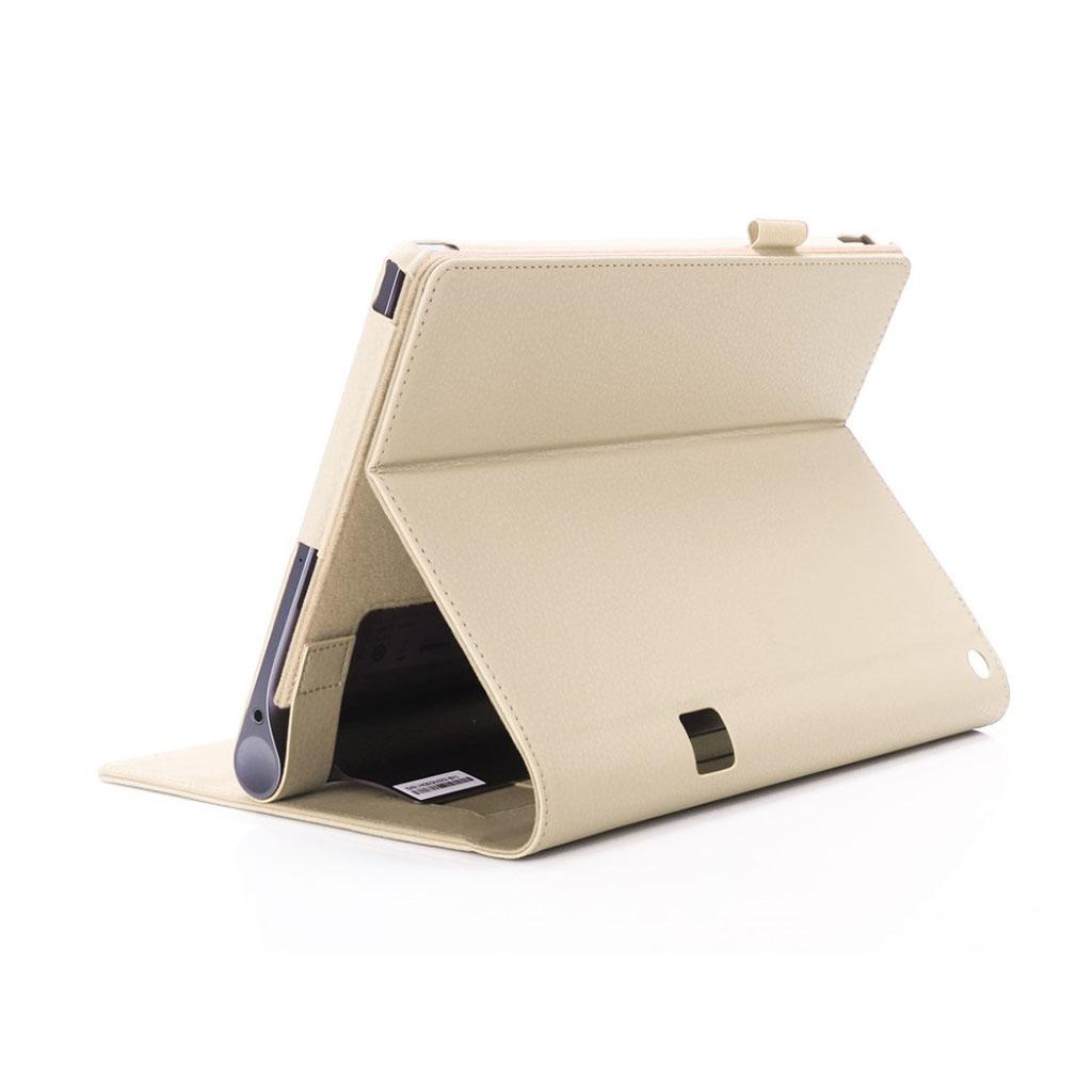 Image of   Lenovo Tab 3 Plus 10 PU leather flip case with elastic strap - Gold