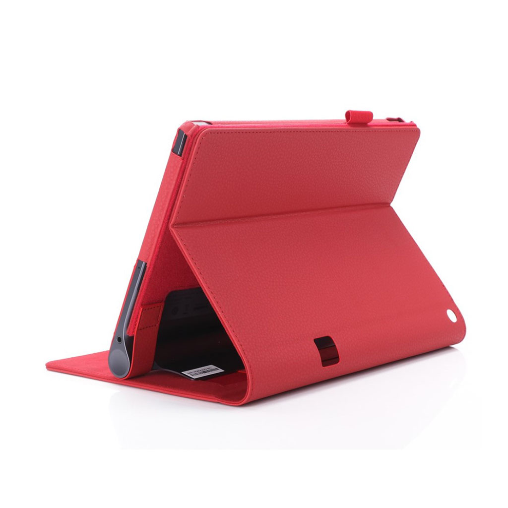 Image of   Lenovo Tab 3 Plus 10 PU leather flip case with elastic strap - Red