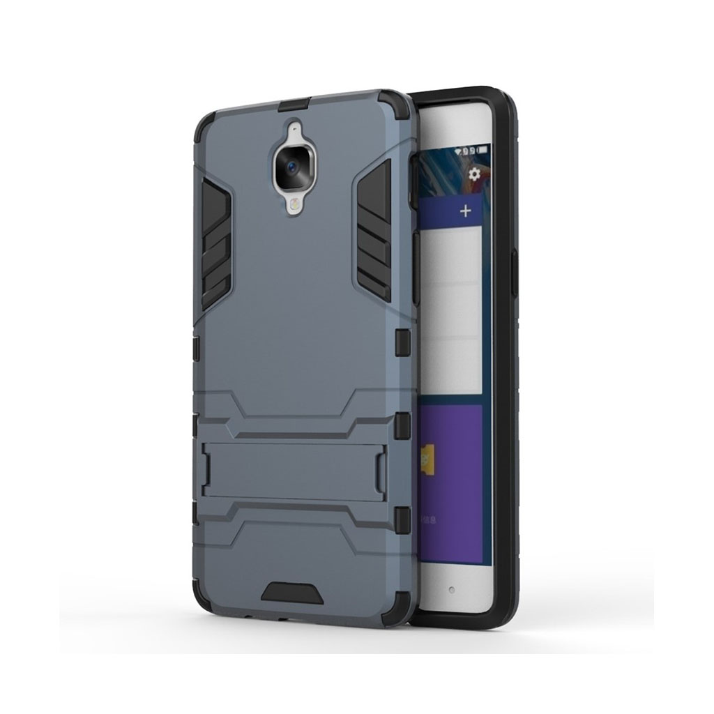 Rollo hybridcover med kickstand til OnePlus 3 - Mørkeblå
