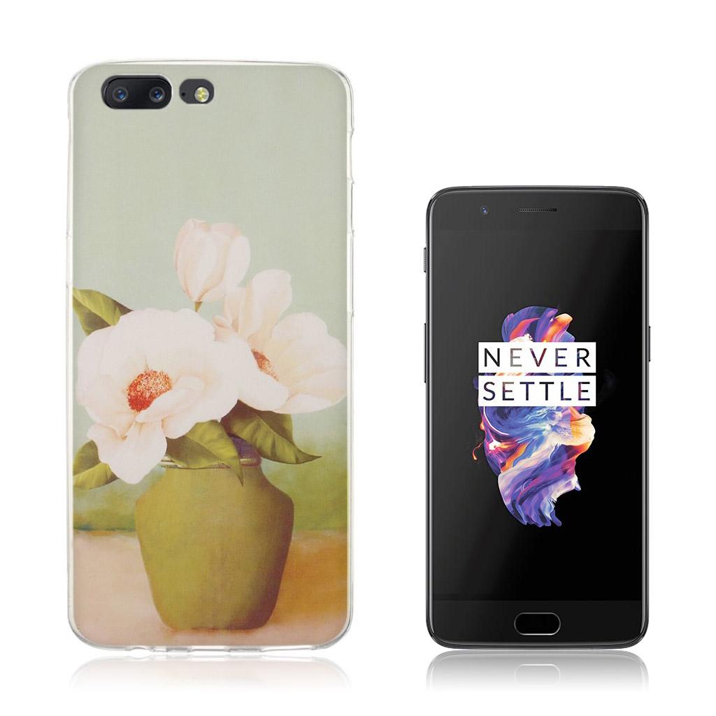 OnePlus 5 Ultra tyndt cover - Hvide blomster