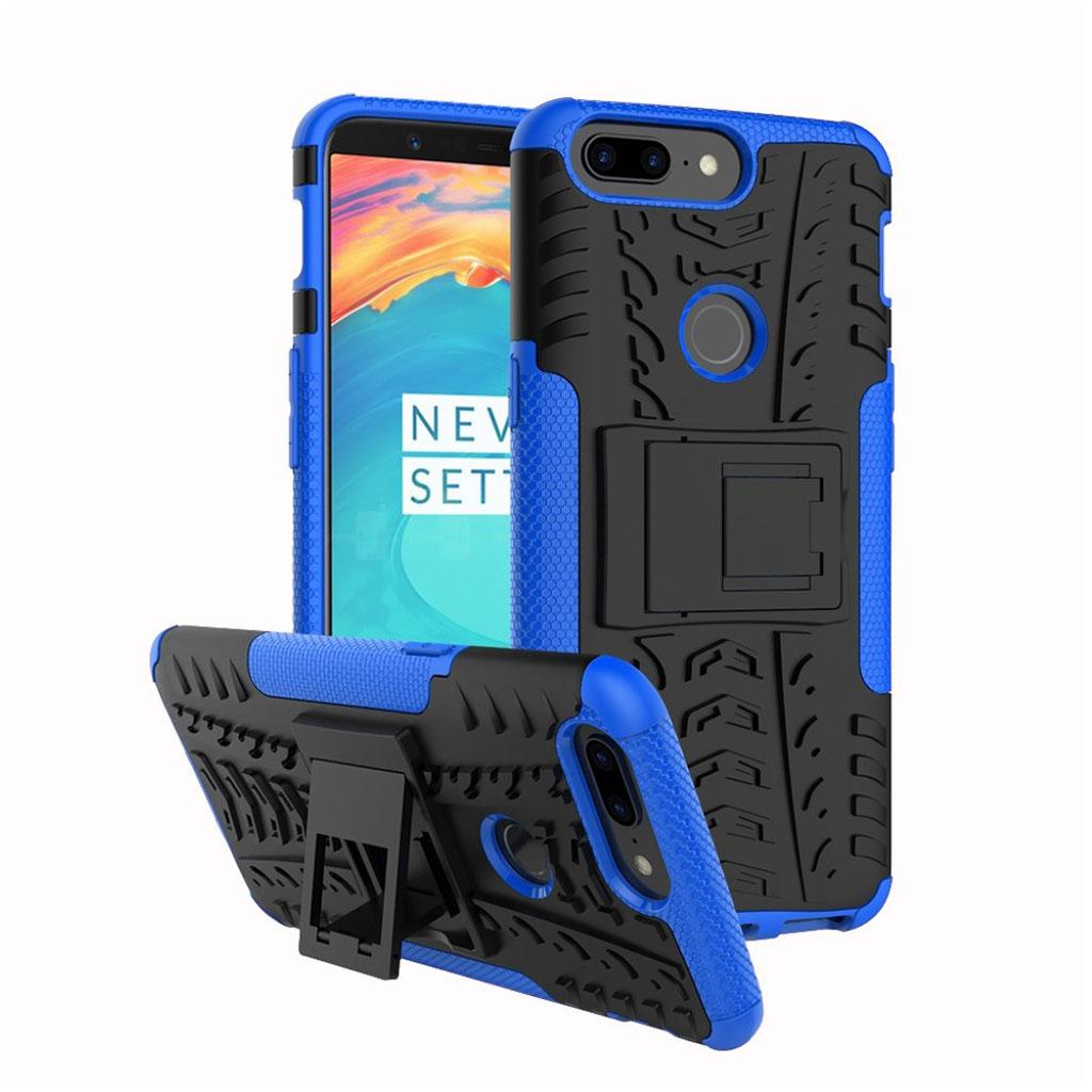 OnePlus 5T cover i silikone og plastik med støttefod - Sort og blå