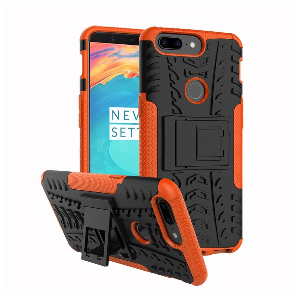 OnePlus 5T cover i silikone og plastik med støttefod - Sort og orange