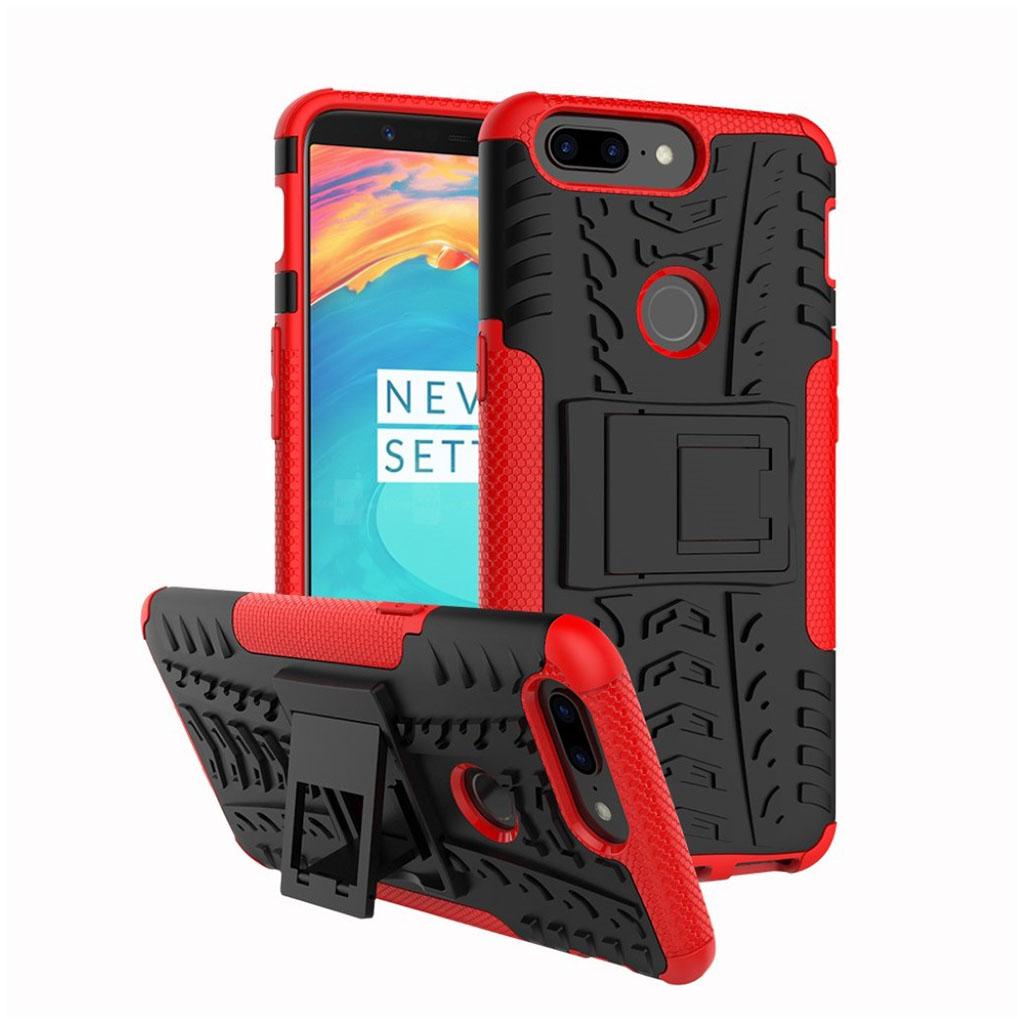OnePlus 5T cover i silikone og plastik med støttefod - Sort og rød