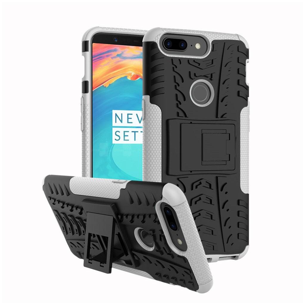 OnePlus 5T cover i silikone og plastik med støttefod - Sort og hvid