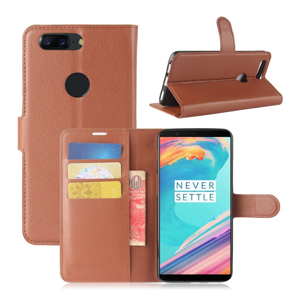 OnePlus 5T Etui med litchi tekstur - Brun
