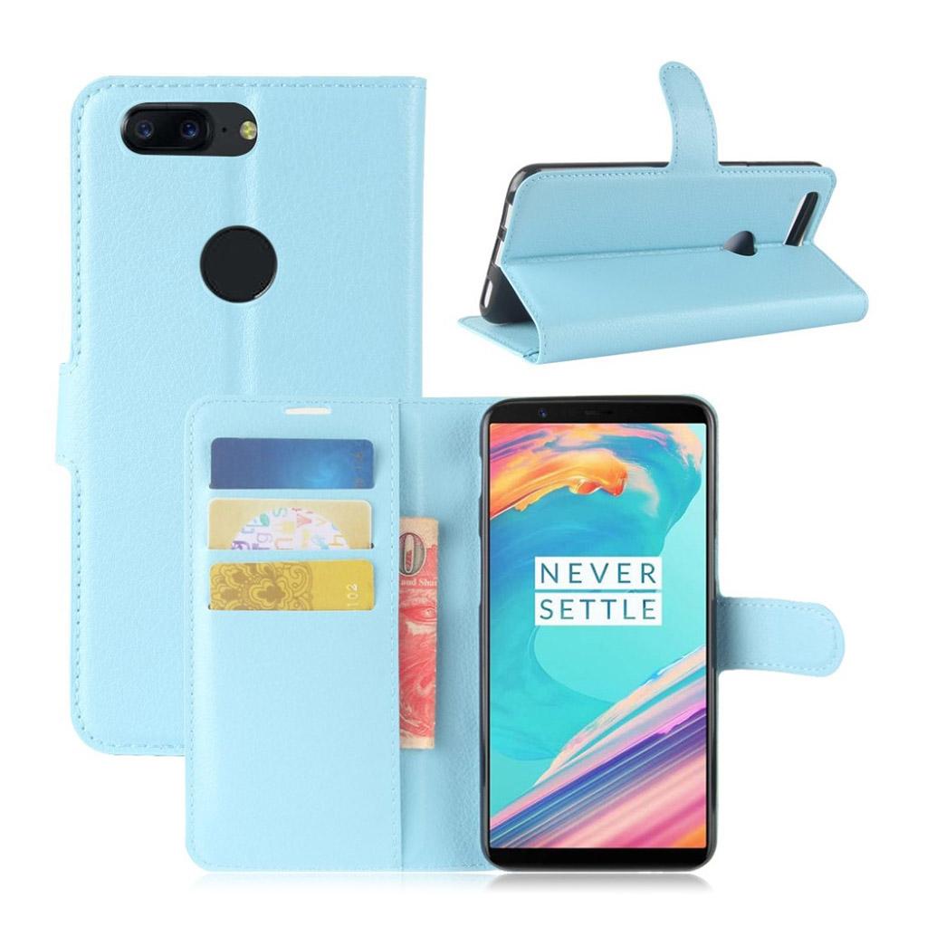OnePlus 5T Etui med litchi tekstur - Blå