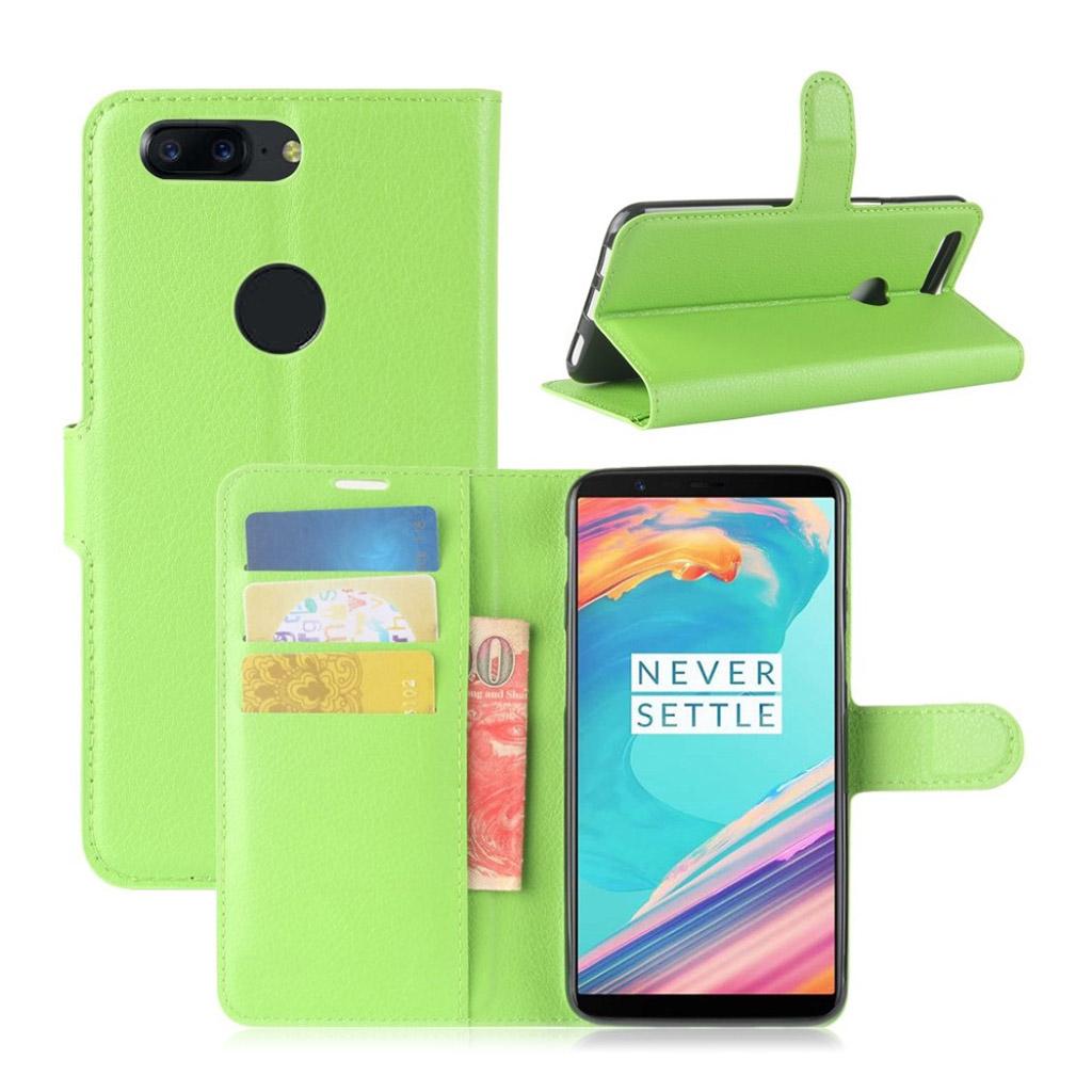 OnePlus 5T Etui med litchi tekstur - Grøn