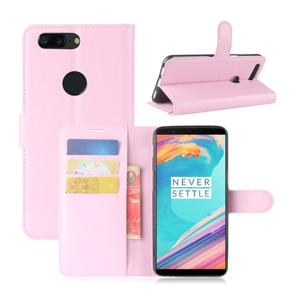 OnePlus 5T Etui med litchi tekstur - Pink