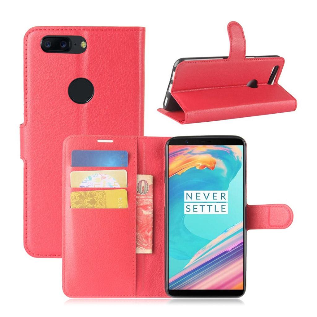 OnePlus 5T Etui med litchi tekstur - Rød