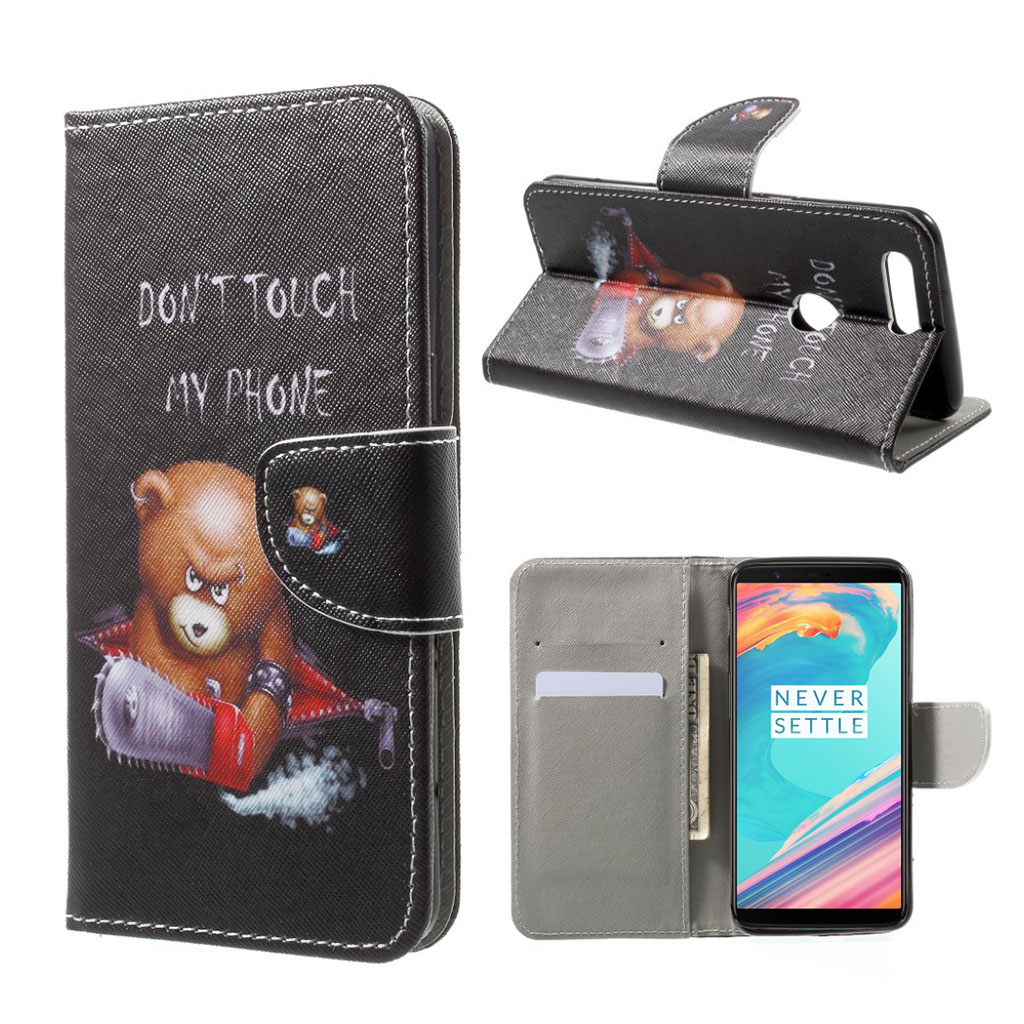 OnePlus 5T etui i mønstret læder - Do not touch my phone