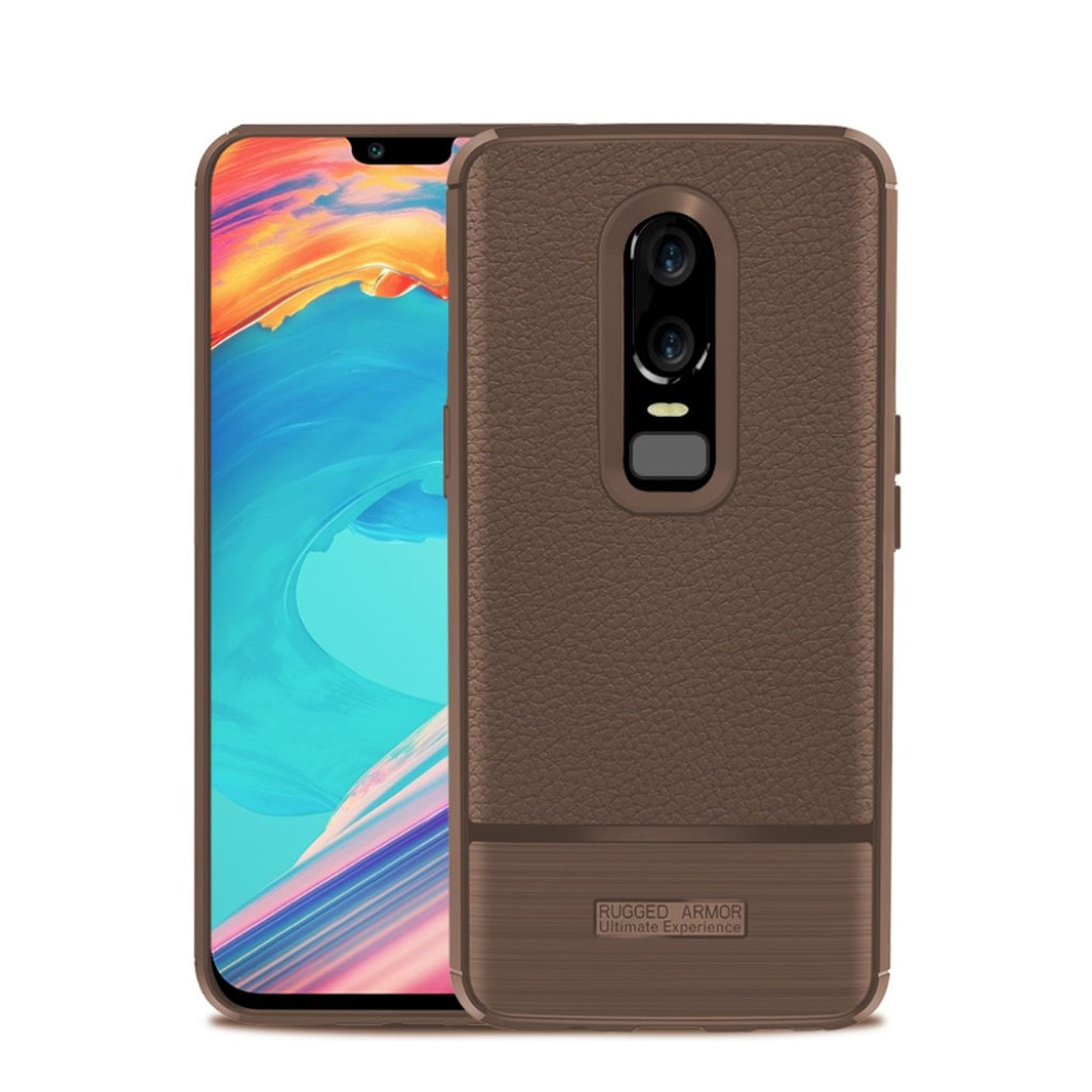 OnePlus 6 litchi texture brushed case - Brown