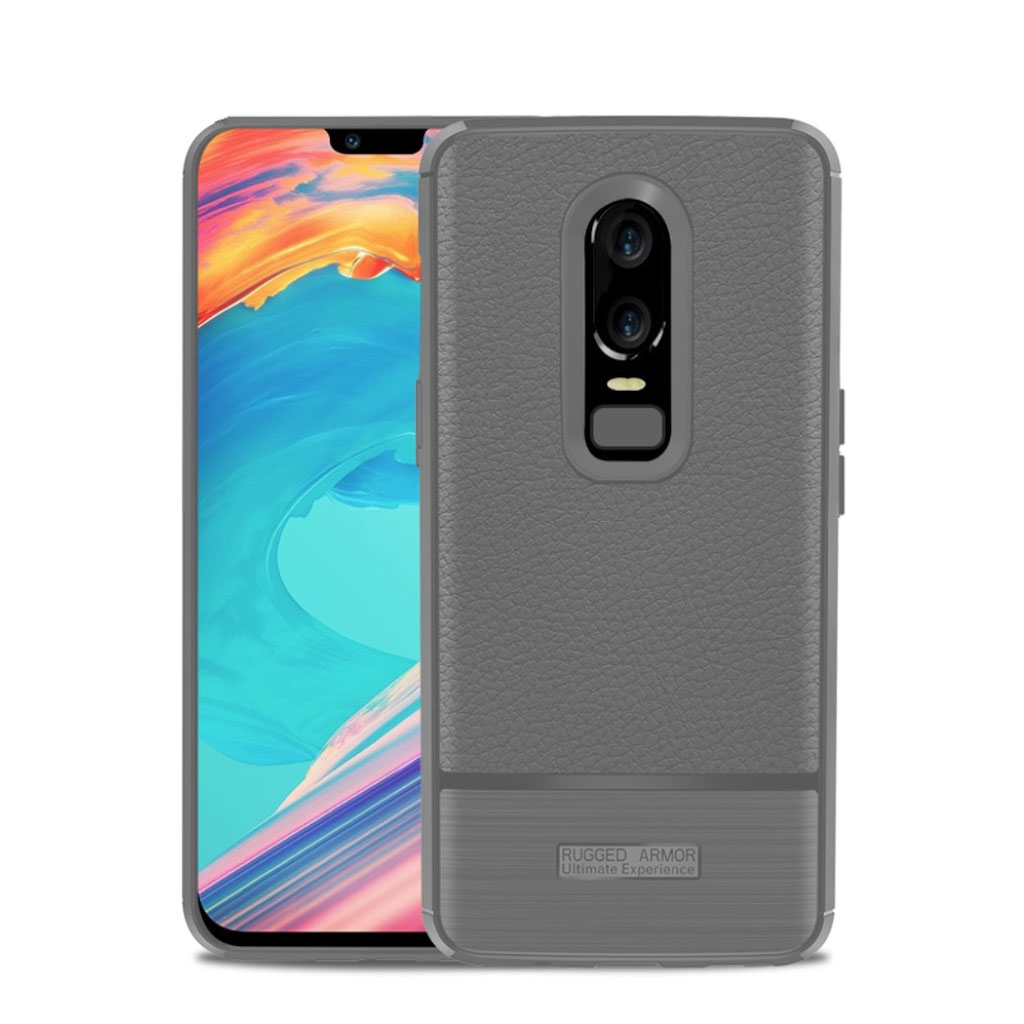 OnePlus 6 litchi texture brushed case - Grey