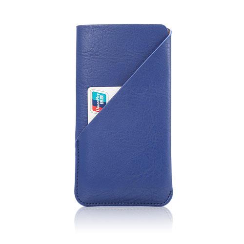release date 6d0f2 e8fcb Læder-sleeve til smartphones med grynet overflade, størrelse 145 x 75mm -  Blå