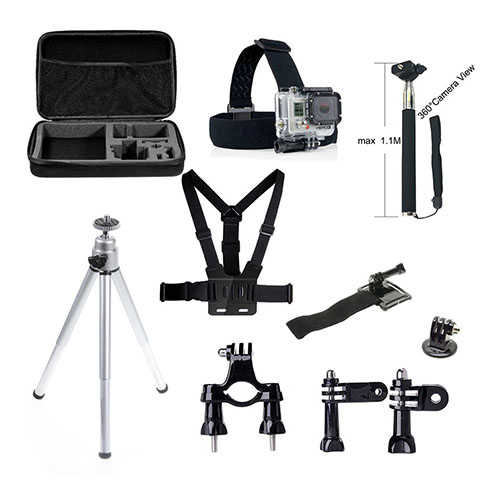 Image of   10 i 1 GoPro tilbehørs-kit med brystkassemontering, hovedmontering, tripod og meget mere