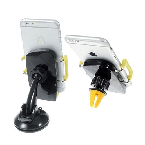 Image of   2-i-1 holder til bilruden og bilens ventilationsanlæg til smartphones - Gul