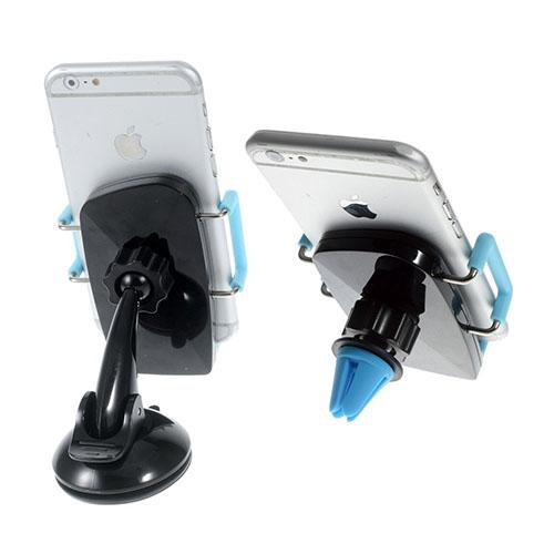 Image of   2-i-1 holder til bilruden og bilens ventilationsanlæg til smartphones - Blå