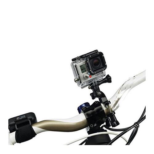 Justerbart beslag til cykelstyret eller under sædet med tre-vejs justeringsdrejeled til GoPro - Sort