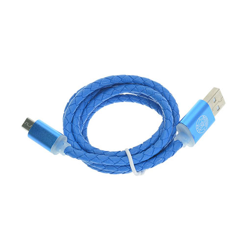 Image of   1m Leather Micro USB Cable - Blue