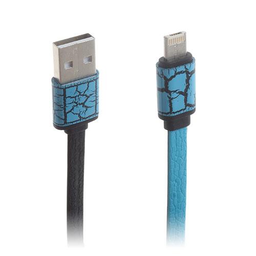 Image of   2-i-1 8pin & MicroUSB dataoverførsels- og opladerkabel til smartphones - Blå