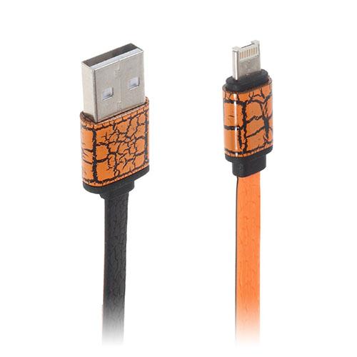 Image of   2-i-1 8pin & MicroUSB dataoverførsels- og opladerkabel til smartphones - Orange