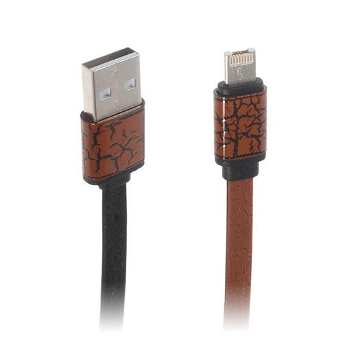 Image of   2-i-1 8pin & MicroUSB dataoverførsels- og opladerkabel til smartphones - Brun