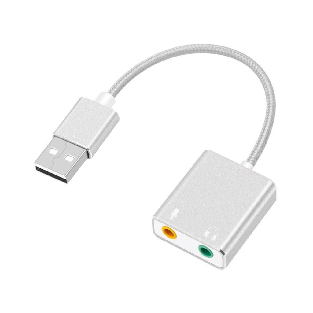 Universel USB lydadapter ekstern stereo lydkort med 3.5mm jackstik til høretelefoner og mikrofon - Sølvfarvet