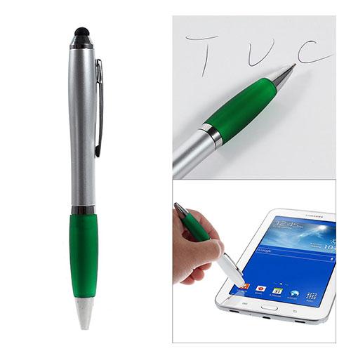 Image of   2-i-1 Touchscreen Pen - Kuglepen og Stylus til Smartphones og Tablets - Grøn