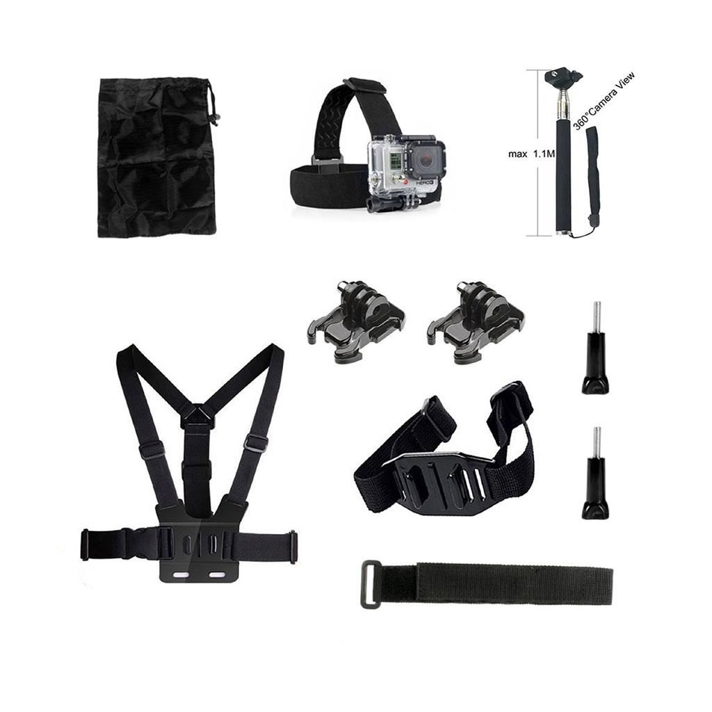 Image of   10-i-1 tilbehørskit til action kameraer med brystbælte og hovedstrop