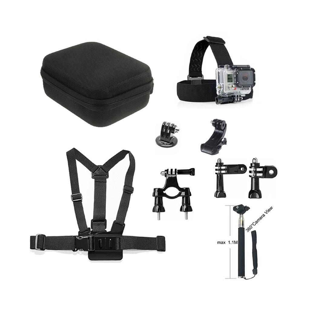 Image of   9-i-1 tilbehørskit til action kameraer med brystbælte og hovedstrop
