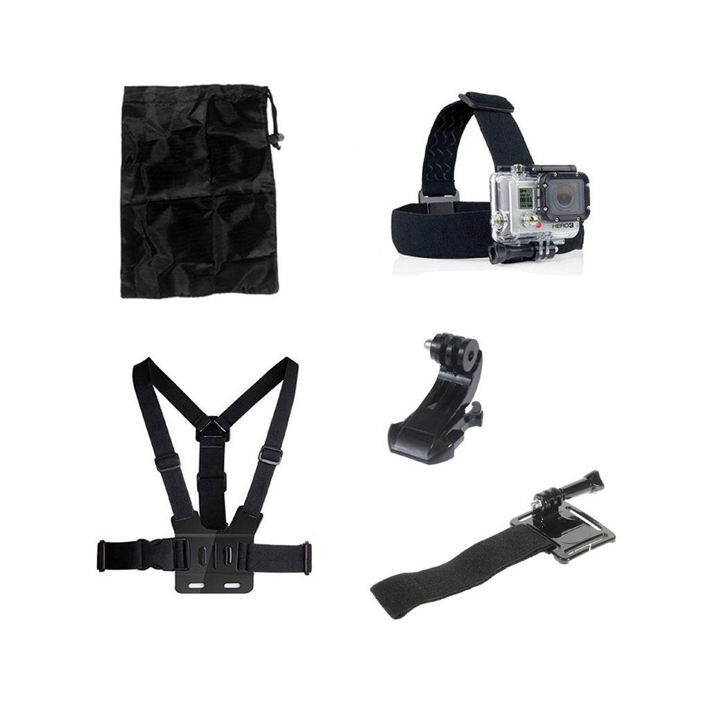 Image of   5-i-1 tilbehørskit til action kameraer med brystbælte, hovedstrop og J-hook