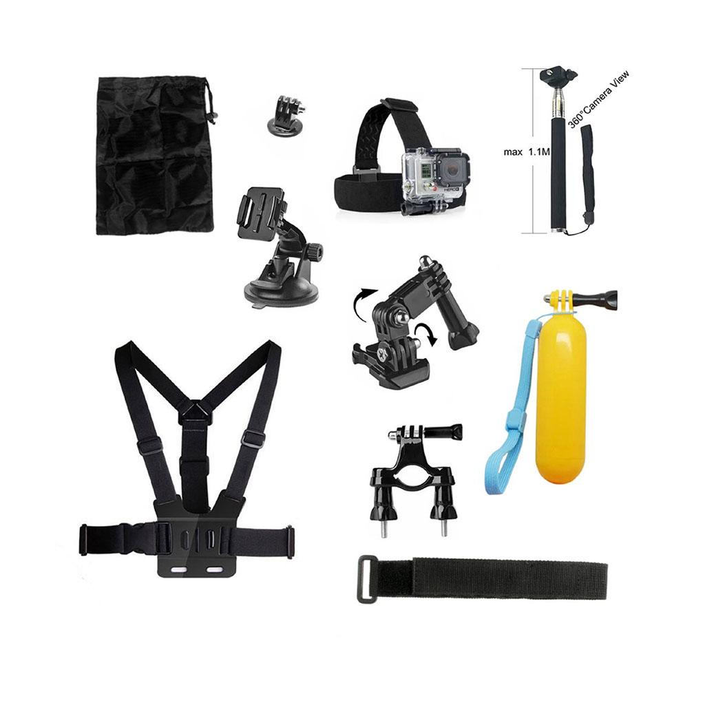 Image of   10-i-1 tilbehørskit til action kameraer med brystbælte og monopod med timer