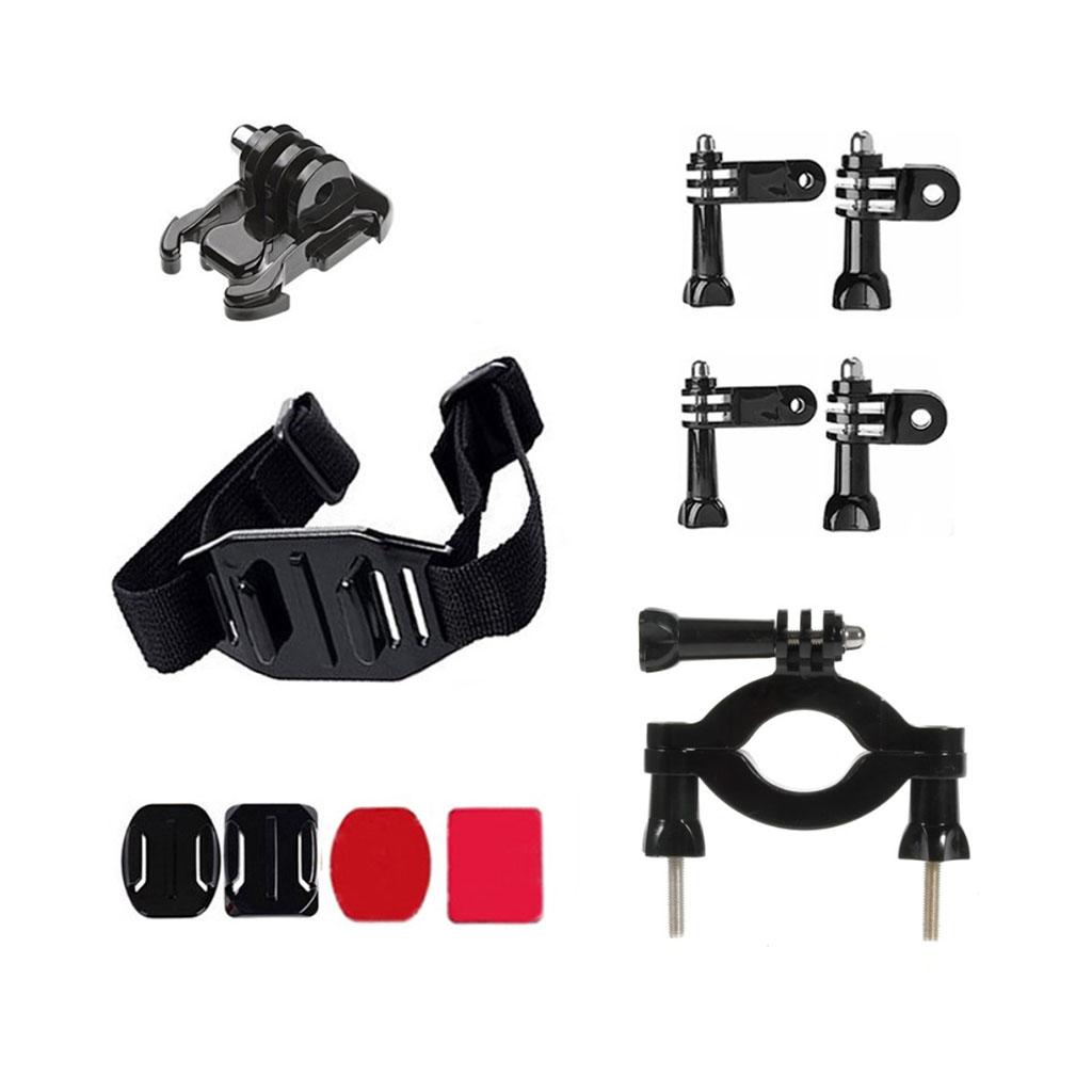 Image of   11-i-1 tilbehørskit til action kameraer med beslag til hjelmen og cykelstyret