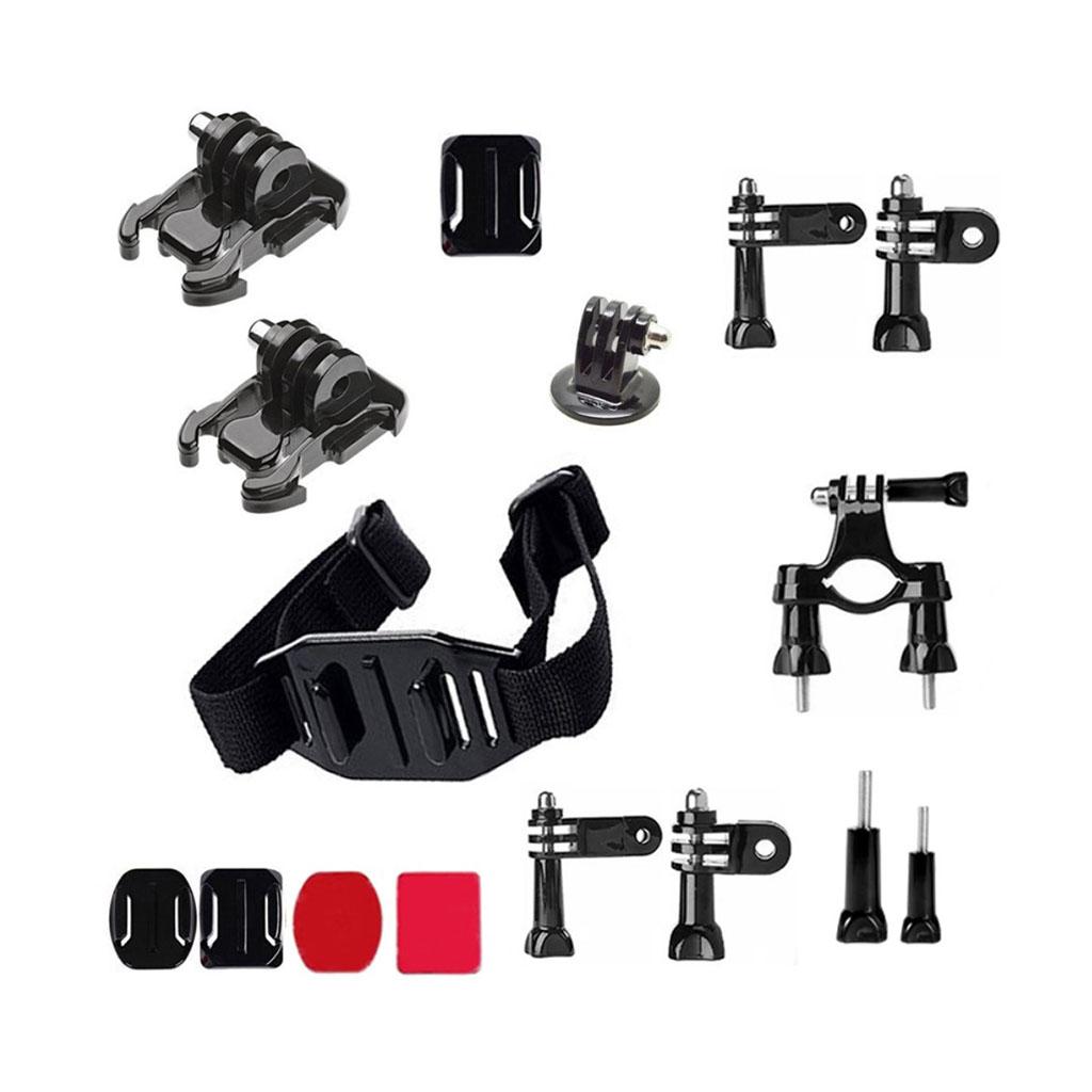 Image of   16-i-1 tilbeshørskit til action kameraer med beslag til cykelstyr og hjelm