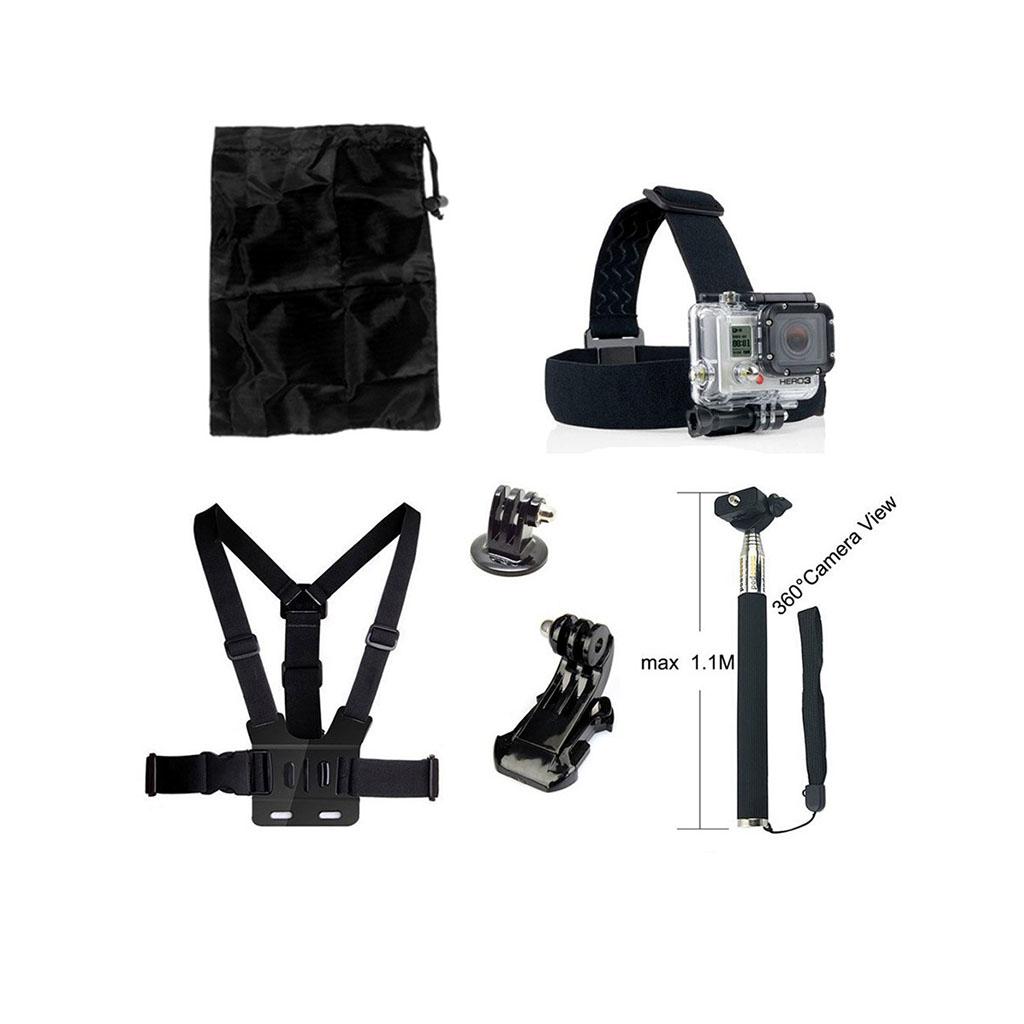 Image of   6-i-1 tilbehørskit til action kameraer med brystbælte og monopod med timer