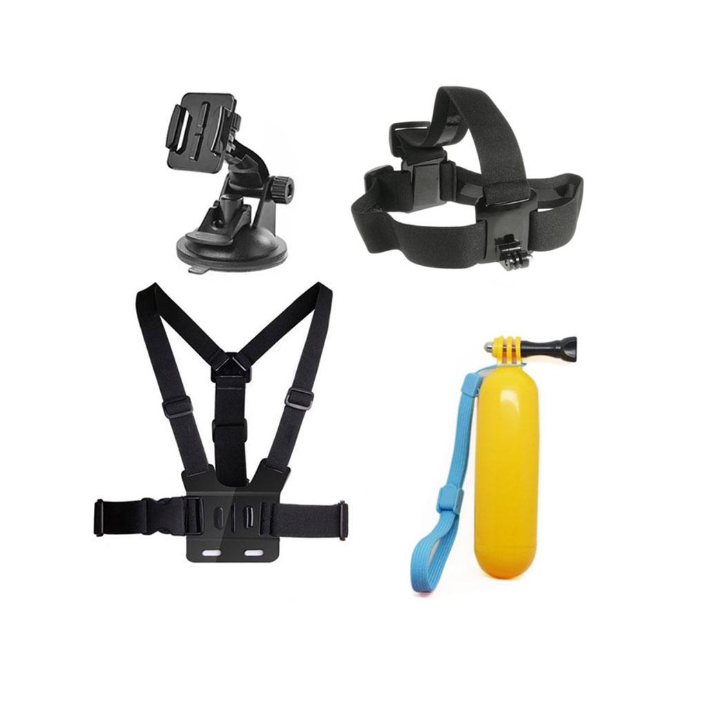4-i-1 tilbehørskit til action kameraer med flydende bobber og brystbælte